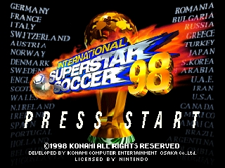International Superstar Soccer '98 (Europe) Title Screen